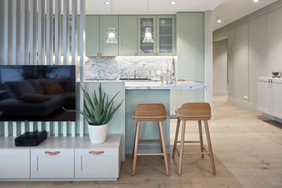 A cozy apartment highlighted by lighting on the outskirts of Opole
