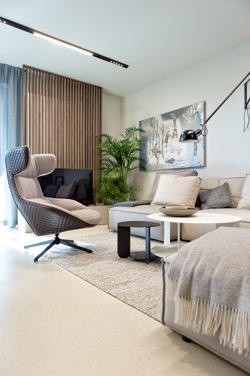 A modern apartment with minimalistic lighting