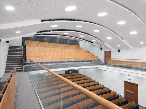 Modern auditorium interior with lighting control system