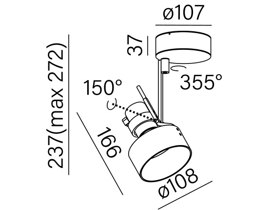 Dimensional drawing of the luminaire 10311