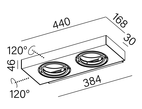Dimensional drawing of the luminaire 26314