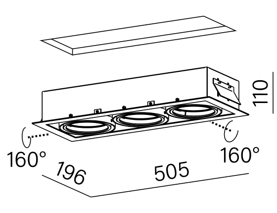 Dimensional drawing of the luminaire 30713