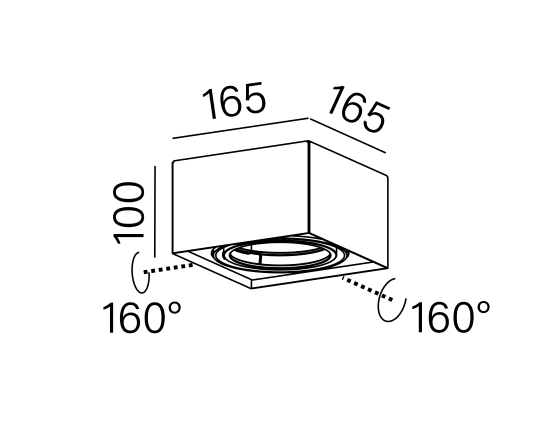 Dimensional drawing of the luminaire 40110