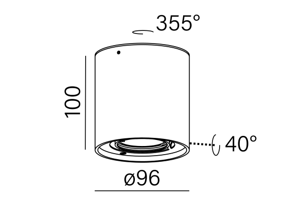 Dimensional drawing of the luminaire 45921