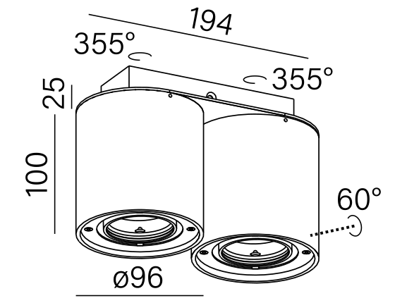 Dimensional drawing of the luminaire 45935