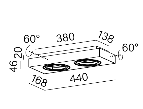 Dimensional drawing of the luminaire 46613