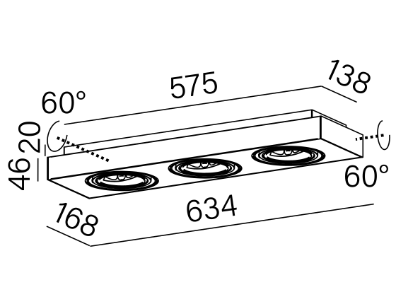 Dimensional drawing of the luminaire 46614