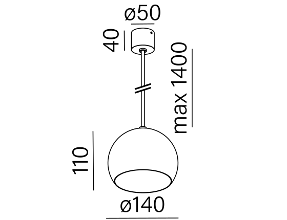 Dimensional drawing of the luminaire 50120