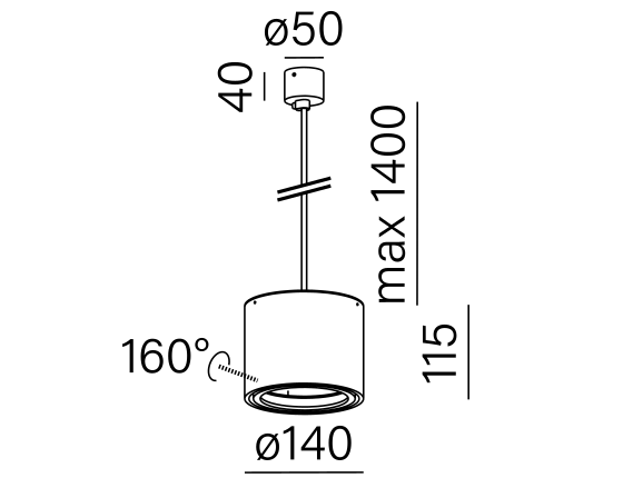 Dimensional drawing of the luminaire 59631