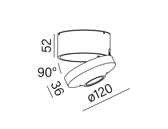 Dimensional drawing of the luminaire AL8051