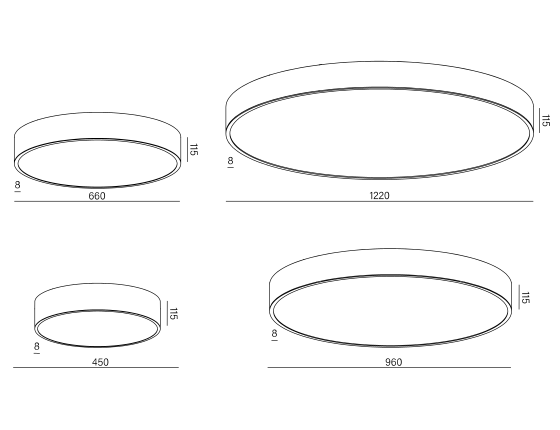 Dimensional drawing of the luminaire BS1114