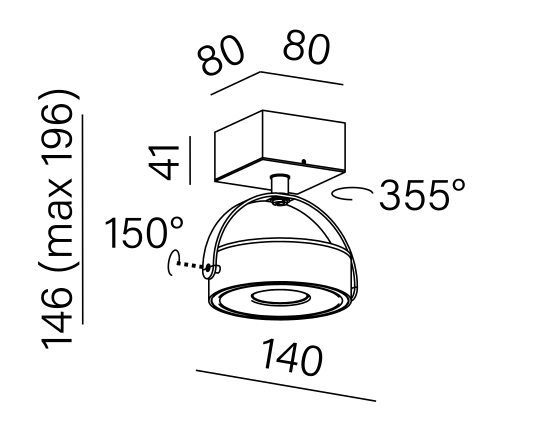 Dimensional drawing of the luminaire CE1061