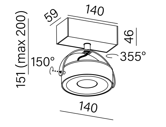 Dimensional drawing of the luminaire CE3161