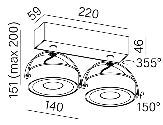 Dimensional drawing of the luminaire CE3261