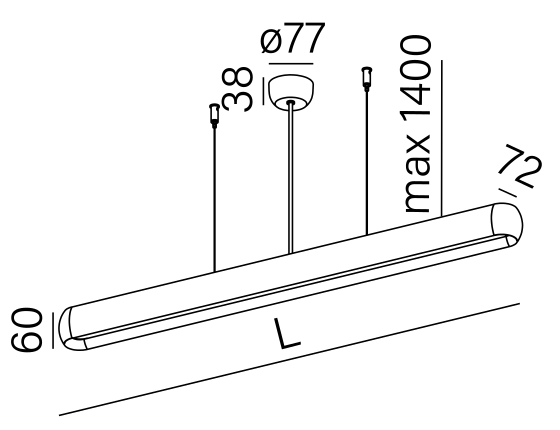 Dimensional drawing of the luminaire EQ0231
