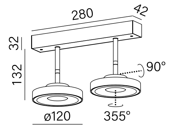 Dimensional drawing of the luminaire KA4071