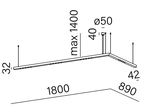 Dimensional drawing of the luminaire LL3015