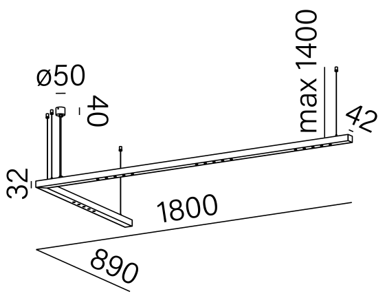 Dimensional drawing of the luminaire LL4015