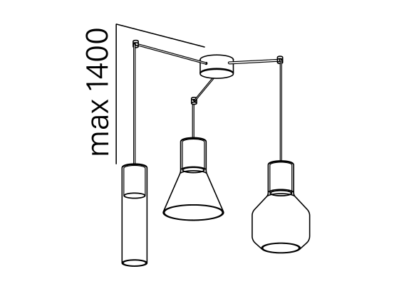 Dimensional drawing of the luminaire M11025