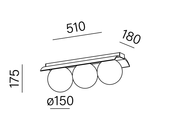 Dimensional drawing of the luminaire MB3014
