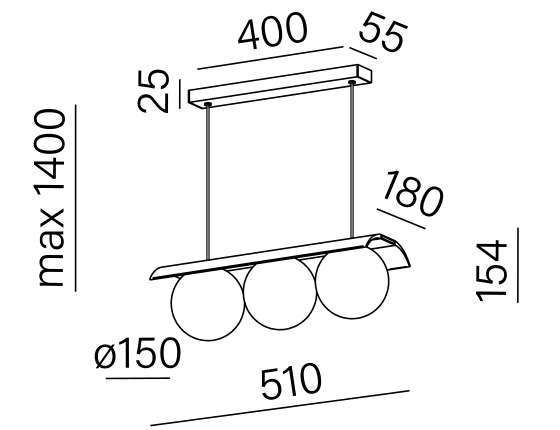 Dimensional drawing of the luminaire MB3015