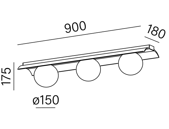Dimensional drawing of the luminaire MB3614