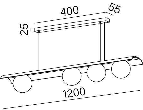 Dimensional drawing of the luminaire MB4415