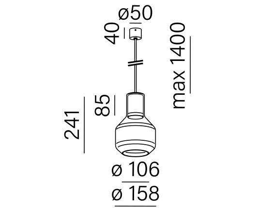 Poglądowy rysunek wymiarowy oprawy MG1035