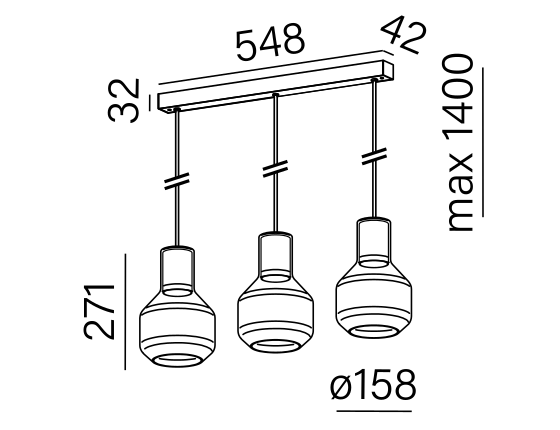 Dimensional drawing of the luminaire MG1325