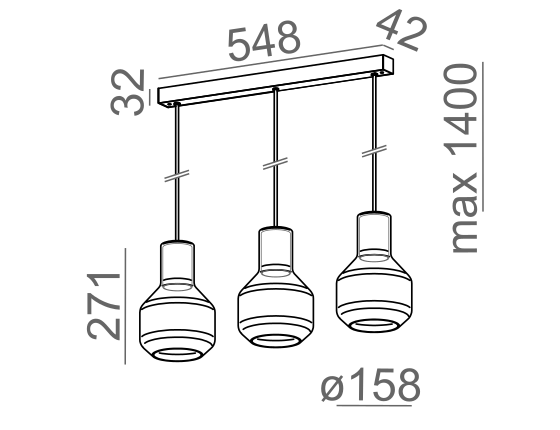 Dimensional drawing of the luminaire MG1335