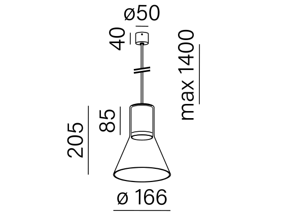 Poglądowy rysunek wymiarowy oprawy MG2025