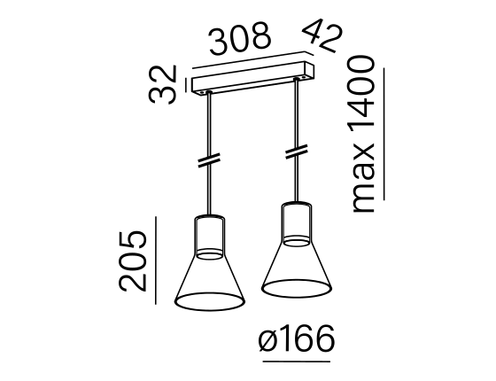 Dimensional drawing of the luminaire MG2225