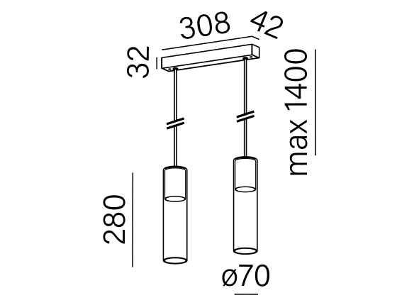 Dimensional drawing of the luminaire MG3225