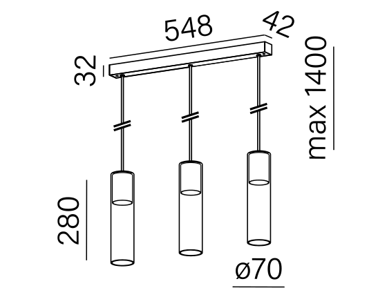 Dimensional drawing of the luminaire MG3335