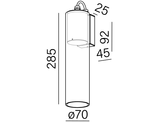 Dimensional drawing of the luminaire MG3812