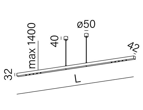 Dimensional drawing of the luminaire MX0015