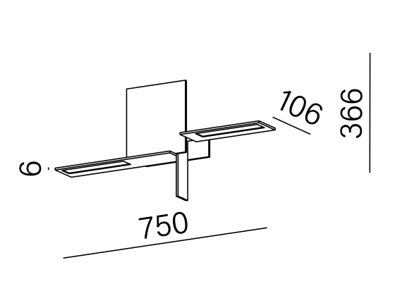 Dimensional drawing of the luminaire OL2002