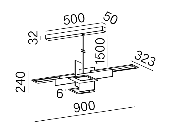 Dimensional drawing of the luminaire OL2205