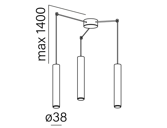 Dimensional drawing of the luminaire P11815