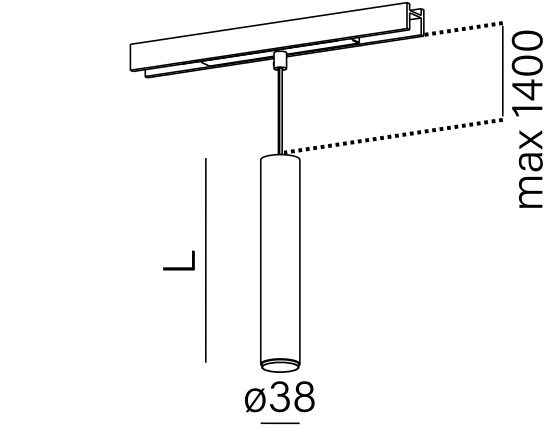 Dimensional drawing of the luminaire PE1817