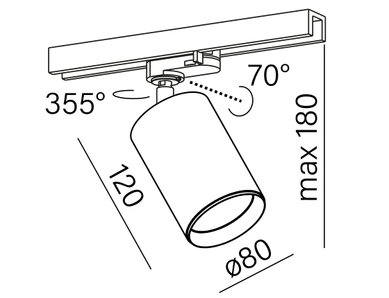 Dimensional drawing of the luminaire PE2816