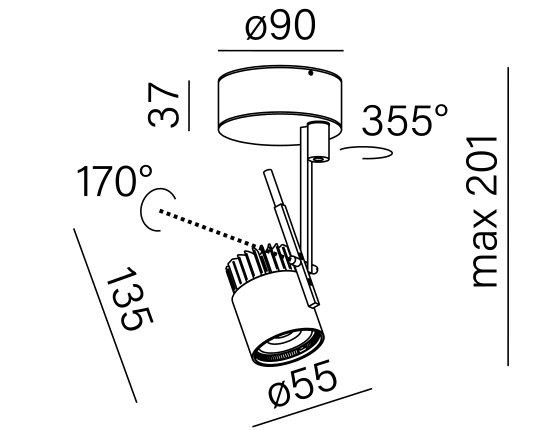 Dimensional drawing of the luminaire PR1011