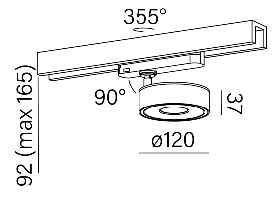 Dimensional drawing of the luminaire QR8066