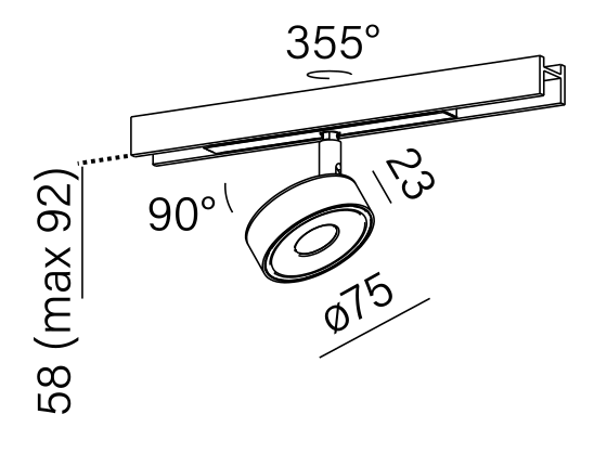 Dimensional drawing of the luminaire QR9017