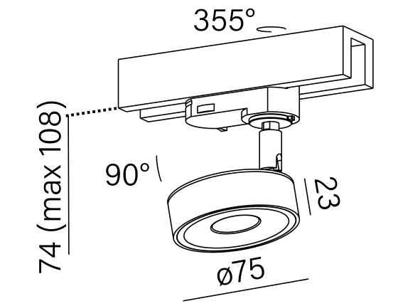 Dimensional drawing of the luminaire QR9076