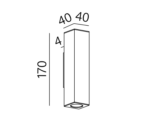 Poglądowy rysunek wymiarowy oprawy QU1012