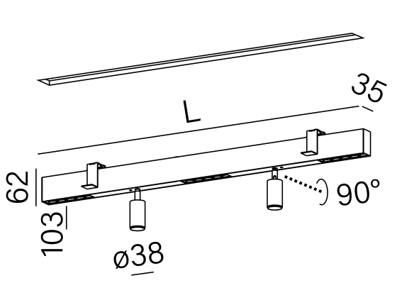 Dimensional drawing of the luminaire RA9013