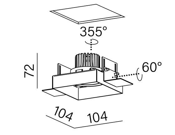 Dimensional drawing of the luminaire SX3813