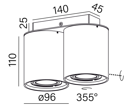 Dimensional drawing of the luminaire TU6274